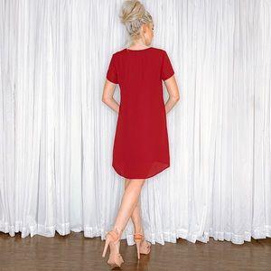 AmandaRSowards Dresses - Burgundy Red Oversized Flowy Dress